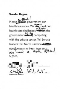 Blue Cross postage paid card on health care