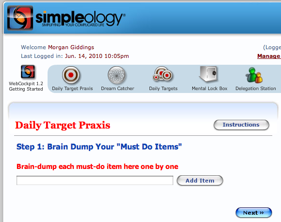 Simpleology Daily Target Praxis