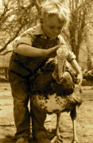 My father with turkey circa 1935